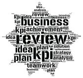 Kpi plan review word cloud. Kpi plan review idea business analysis achievement word cloud concept Royalty Free Stock Photo