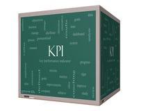 KPI słowa chmury pojęcie na 3D sześcianu Blackboard Obrazy Stock
