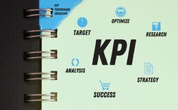 KPI scheme in copybook including target optimize research analysis success strategy. Project management mind map. Business concept