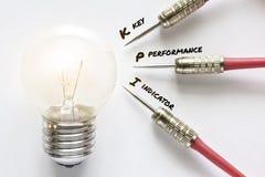 KPI-Schlüsselleistungsindikatorpfeil mit Ideenlampenziel Stockbilder