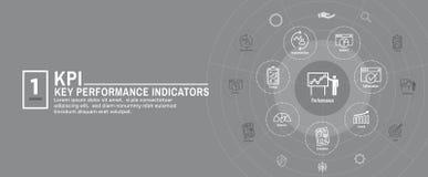 KPI - Sistema de la portada y del icono del web de los indicadores de rendimiento clave stock de ilustración