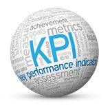 KPI tag cloud mapped onto a sphere. Detailed tag cloud of words relevant to the theme of `KPI`, key performance indicator, mapped onto a sphere. Vector. Blue and vector illustration
