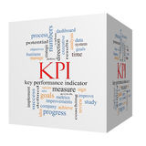 KPI Word Cloud Concept on a 3D Cube Stock Image