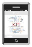KPI Word Cloud Concept on a Touchscreen Phone stock photo