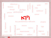 KPI Word Cloud Concept on a Whiteboard royalty free stock photography