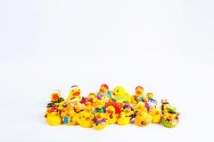 Kąpielowy kaczki om bielu tło Obrazy Royalty Free
