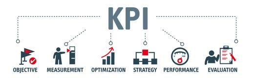 KPIs evalúa el éxito de una organización o de un detalle ilustración del vector