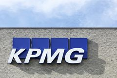 KPMG logo on a facade. Aarhus, Denmark - August 8, 2015: KPMG logo on a facade. KPMG is one of the largest professional services companies in the world and one Stock Photos