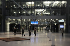 KPMG Offices, Frankfurt. Frankfurt am Main, Germany - November 12, 2012: Busy evening in front of KPMG Office in The Squaire building at Frankfurt Airport Royalty Free Stock Image