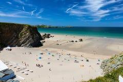 Kräftiger Glasur-Strand Newquay Cornwall England stockbilder