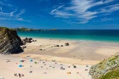 Kräftiger Glasur-Strand Newquay Cornwall England stockfoto
