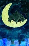 Krähe auf Mond Lizenzfreie Stockfotos