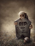 Krähe, die auf einem Grabstein sitzt Stockfotos