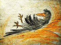 Krähe im Heuschober lizenzfreie abbildung