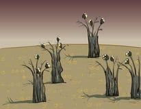 Krähen auf Bäumen auf dunklem Hintergrund Lizenzfreie Stockfotografie