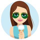 kräm- äta iskvinna stock illustrationer