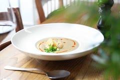 Kräm av den grillade purjolöken med parmesansoppa royaltyfria bilder
