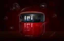 Kräm- behållareflaskåtlöje upp Kräm- glasflaskamall för skönhetsmedel Skönhetansiktsbehandlingkräm i en illustration för krus 3D Fotografering för Bildbyråer