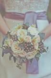 Kräm- bröllopbukett Royaltyfri Bild
