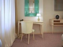 Kräm- dressingtabell med spegeln Royaltyfria Bilder