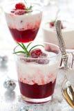 kräm- efterrätt för cranberry arkivfoton