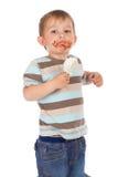 kräm- is för pojke little Arkivbilder