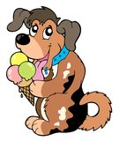 kräm- hund för tecknad film som äter is Arkivfoton