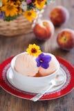 kräm- ispersikayoghurt Royaltyfria Foton