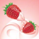 kräm- jordgubbar Royaltyfria Bilder