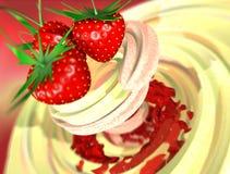 kräm- jordgubbe royaltyfri illustrationer