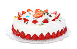 kräm- jordgubbe för cake Royaltyfri Fotografi
