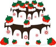 kräm- jordgubbe för cake Arkivfoto