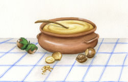 kräm- jordnöt stock illustrationer