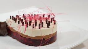 Kräm- kaka med tre lager på en platta Kräm- kaka med tre lager som dekoreras med chokladsmulor och choklad Royaltyfria Foton