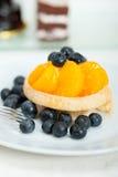 Kräm- muffin för blåbär Arkivfoto