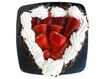 Kräm- och chokladkaka med streawberries Arkivbilder
