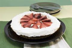 Kräm- pie för jordgubbe Arkivfoto