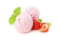 kräm- is scoops jordgubbe två arkivfoton