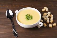 Kräm- soppa av pumpa med kryddor, med kräm, krutonger och ärtor Fotografering för Bildbyråer
