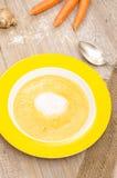 Kräm- soppa för morot i vertikalt format fotografering för bildbyråer