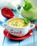 Kräm- soppa för ny kålrabbi med dill arkivfoto