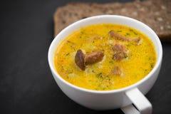 Kräm- soppa med champinjonkantareller och solrosbröd svärtar Arkivbild