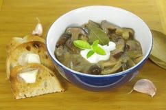Kräm- soppa med sopp Royaltyfri Foto