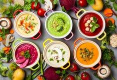 Kräm- soppor för grönsak Royaltyfri Fotografi