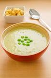 Kräm- soup för gröna ärtor Arkivbild