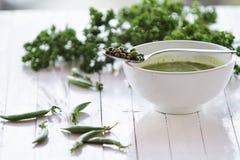 Kräm- soup för gröna ärtor royaltyfri fotografi