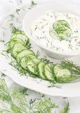 Kräm- soup med gurkor Arkivbilder