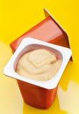 kräm- yoghurt för caramel arkivfoto