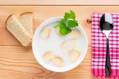Krämig soppa med krutonger i en bunke Arkivfoto
