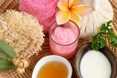 Krämiga nya Herb Mask med nytt mjölkar, Ivy Gourd och honung, brunnsort med naturliga ingredienser av Thailand Royaltyfri Foto